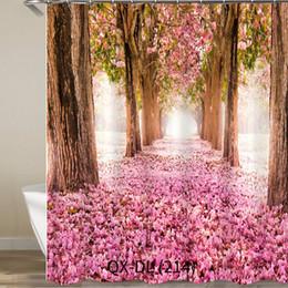 2019 paesaggistica digitale Poliestere stampato Digital impermeabile della tenda della doccia del bagno 3D a prova d'umidità di grande decorazione 3D del poliestere con i ganci sconti paesaggistica digitale