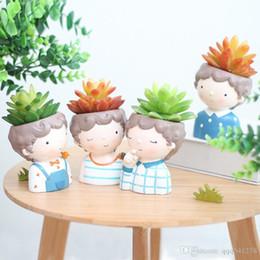 vasetti da giardino in ceramica all'ingrosso Sconti Set di fioriera ricci - 4 pezzi di piante grasse in stile europeo fioriera in vaso mini bonsai in vaso di fiori decorativi per la casa