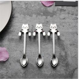 2019 cartoon scoop Sorriso Cat Pattern Spoon Hangable Handle Coffee Mestolo Acciaio inox Scoop Cartoon Lovely Gold And Silver 3 5yh C1 sconti cartoon scoop