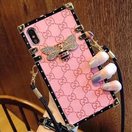 2019 smartphone case marche di cuoio Bling Rhinestone Famous Designer Cover Custodie per telefoni di lusso per iPhone X XR XS Max 8 7 6 6s Plus S9 S10 plus morbido Scafo pelle scafo + String 508