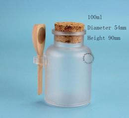 Recipiente de sal de plástico on-line-Venda por atacado - 45pcs / Lot Atacado Plastic Cosmetic Bottle 100ml Pó Salt Pot Bath com colher de madeira Máscara Facial Recipiente Recarregável