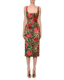 Vestidos de leopardo online-Diseñador de gama alta vestido de mujer rojo 2019 estampado leopardo Milan Runway Roses Lentejuelas Vestidos De Festa yy-13
