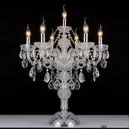 2019 lampara de mesa led vela Lámpara de mesa de cristal de vela europea luxruy E14 7 cabezas lámpara de mesa de cristal de moda lámparas de sala lámpara de dormitorio K9 luces de mesa de cristal superiores lampara de mesa led vela baratos