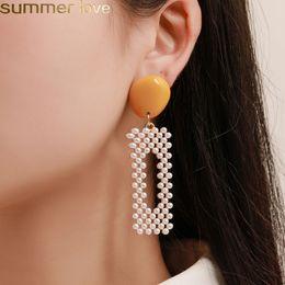 2019 lo stile coreano di modo dell'orecchino all'ingrosso Orecchini coreano stile perla ciondola la moda colori caramella orecchino 2019 grandi orecchini geometrici per le donne design gioielli all'ingrosso lo stile coreano di modo dell'orecchino all'ingrosso economici