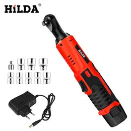 ratchet tool kit Promo Codes - HILDA 12V Electric Wrench Kit Cordless Ratchet Wrench Rechargeable Scaffolding Torque Ratchet With Sockets Tools Power Tools