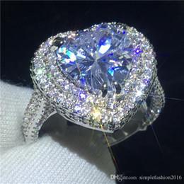 Pietre a forma di cuore gioielli online-Anello di fidanzamento di lusso a forma di cuore Argento sterling 925 5ct 5A Cz Anello di fidanzamento di fidanzamento in pietra per le donne Gioielli delle dita