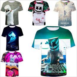 игры печать Скидка DJ Marshmello Футболки Мужчины 3D Игры Топы Цифровые Печатные Тройники С Коротким Рукавом Летняя Рубашка Случайные Горячие Модные Танки Косплей мужская Одежда B4642