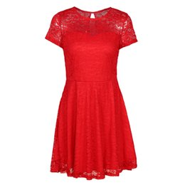 31d6ea474cc Sexy Women Floral Lace Dress 2018 Summer Round Neck Short Sleeve A-line  Dress Pleated Swing Cocktail Party Dress Blue Black Red