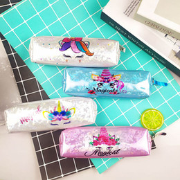 Linda bolsa coreana online-Cute Unicorn Pencil Bag Pouch Laser Pencil Case Kawaii Pen Case Big Box For Kids Korean Stationery Office School Supplies