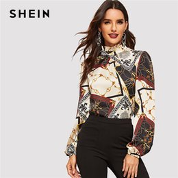 Stampa di abbigliamento da lavoro online-Shein Abbigliamento da lavoro Multicolore Collo arricciato Stand Colletto Geometrico Retro Stampa Top Donna Autunno Modern Lady Casual Top e camicette T190409