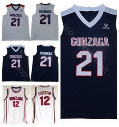 white navy uniforms Coupons - Men College 21 Rui Hachimura Gonzaga Bulldogs Jerseys John Stockton 12 High School Basketball Uniform Stitched Breathable Navy Blue White