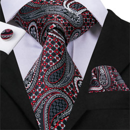 Cravatte di seta di lusso online-Cravatta stile business hi-cravatta per uomo cravatta stile lusso paisley gemelli tasca quadrata set seta alta qualità cravatta-3009