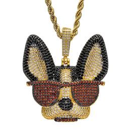 2020 colar pingente pesado 2 Cor Latão CZ Pesado Espirituoso cão com óculos Pingentes Gelado Para Fora Colar de Hip Hop Para Homens E Mulheres CN137A colar pingente pesado barato