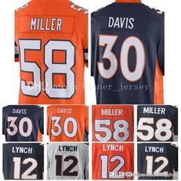 b2c3063f18972 Denver Bronco 30 Terrell Davis 58 Von Miller Jersey Hombres 12 Paxton Lynch  Jerseys Bordado y 100% cosido