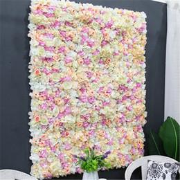 telón de fondo de flores artificiales Rebajas 13 colores flor de seda artificial hortensia pared decoración de la boda fiesta de boda decoración de telón de fondo floral de la boda