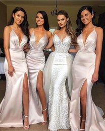 shiny mermaid wedding dresses Promo Codes - Sexy Spaghetti Straps Split Mermaid Long Bridesmaid Dresses Sheath Shiny Women Evening Dresses Wedding Guest Party Gowns BM0357
