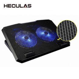Almohadilla de enfriamiento de doble ventilador online-HECULAS Notebook Cooler Laptop Ventilador de Enfriamiento Ajustable Doble Ventiladores Base Led Light Cooling Pad Stand para 11-15.6 Pulgadas Laptop