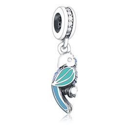 5bd8c27a3a24 Nuevo loro tropical Charms colgante 925 plata esterlina verde cristal  animal del encanto de los granos para la joyería que hace DIY marca  accesorios de las ...