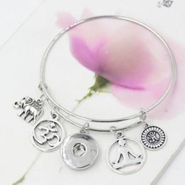 2019 pulseira bracelete de elefante Atacado New Intercambiáveis DIY Snap Jóias Inspirado Menina Elefante Yoga Charme Pulseiras Bangle Jóias Presente pulseira bracelete de elefante barato