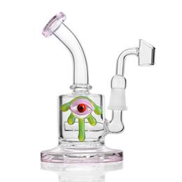 Estrangeiro de petróleo on-line-Vidro rosa Bong Dab Rigs Alienígena Olhos Reciclador copo Bong Bonger Bonger Bong Oil Rig 14mm Feminino Banger Bongos De Vidro Da Água conjunta