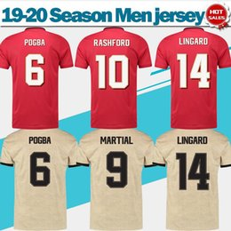 versão vermelha Desconto Europa League versão Cup fonte 2019 United home red # 6 Camisola de futebol POGBA 19/20 fora # 9 LUKAKU # 11 camisa de futebol MARCIAL uniforme de futebol