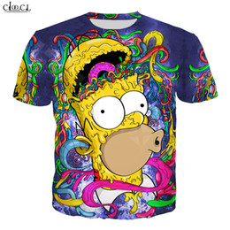 Simpsons camicia t online-Cartoon Anime The Simpsons T shirt Uomo Donna 3D Stampa Coppie Homer Simpson manica corta Harajuku Plus Size Fashion Tops