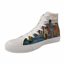 55f31031bbfc Hot Spring And Autumn Women High top Style Painting Canvas Vulcanized Shoes  Female White Breathable Lace-up Sneakers August Mack white sneaker paint on  sale