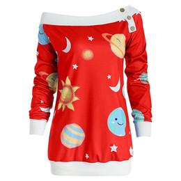 Сексуальные рождественские рубашки женские онлайн-2018 звезда печатных сексуальная с плеча пуговица футболка женщины с длинными рукавами повседневная футболка топы на рождество Sj1048e J190515