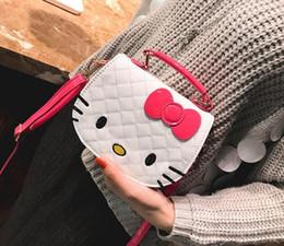 2019 lindo teléfono móvil coreano Venta al por mayor Nueva versión coreana de las mujeres de moda marea de dibujos animados bolsa Lindo gato patrón Hombro Messenger Bags Mobile phone bag Bolsos Crossbody lindo teléfono móvil coreano baratos
