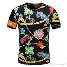 Halskette t-shirts online-Stern mit einer hochwertigen Marke Serie Mode Mode hochwertige Männer hochwertige Gold Halskette Kurzarm T-Shirt m-3 xl