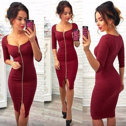 Mujeres Sexy Club De Corte Bajo Bodycon Dress Funda De Terciopelo Rojo 2018 Casual Otoño Invierno Cremallera Moda Vestidos De Fiesta Trabajo De