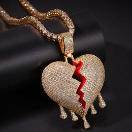 золотая подвеска с каплей воды Скидка Ледяная капля воды разбитые сердца ожерелье кулон с веревкой цепи золото серебряный цвет кубический Циркон хип-хоп ювелирные изделия