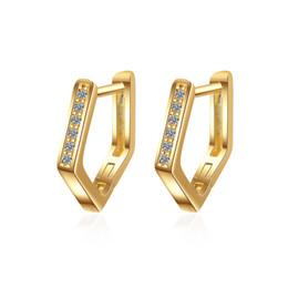 orecchini a vite di strass Sconti EH362 Fashion New Jewelry Orecchini color oro donne designer pentagono montare cristallo bianco San Valentino regali