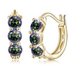 2019 bijoux en diamant bleu S925 Fashion Diamond Stud boucles d'oreilles aiguille Zircon HoopHuggie CZ diamant géométrique en platine BlueWhite Gold Plated Jewelry Party POTALA029 promotion bijoux en diamant bleu