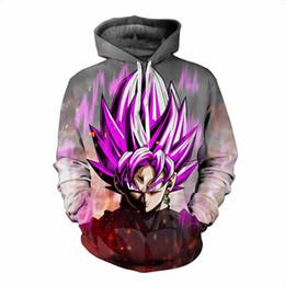 2019 hoodie preto da bola do dragão z Dragon Ball Z Hoodies 3D Impressão Pullovers Sportswear Moletons Super Saiyan Son Goku Preto Zamasu Vegeta Bulma Tops Outfit hoodie preto da bola do dragão z barato