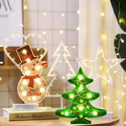 Führte gemälde online-Sonderform Weihnachtsbaum Schneemann Diamant Gemälde 5D DIY Weihnachtsdekor Beleuchtung LED Leuchten Casual Party Lampe 3