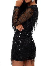 Vendimia cequis vestido de navidad online-Vestido brillante Vestido de lentejuelas con brillo Mujer Malla Volantes Vestidos de fiesta elegantes Elegante Navidad 2019 Ropa Vintage