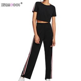 3ed0ae6d23d XUANCOOL Striped Tracksuit Women 2 Pieces Set Outwear Ladies Outfit Casual  Tracksuit Crop Top+Pants Women s Sets D19011601