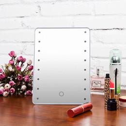 2019 folhas de plástico redondas Espelho de maquiagem com 16 LEDs Espelho com toque Dimmer Switch pilhas Vanity espelho com suporte para Bedroom