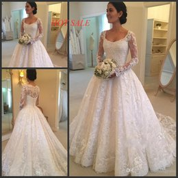 long sleeve wedding dresses for sale Promo Codes - Hot Sale Scoop Neck A-line Lace Wedding Dresses Long Sleeve Appliques Beaded Beautiful Bridal Wedding Gowns For Women vestido de noiva