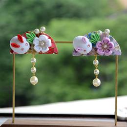 Japanische kaninchen online-Japanische Kaninchen Fächerform Details Retro Ornamente Kopfschmuck Blume Hanfu verdienen die Rolle der Haarspange