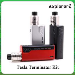 2019 terminateur mod démarreur Top Qualité Tesla Terminator Kit 90W TC Starter Kit VW 18650 Boîte À Piles Mod Antman 22 RDA Atomiseur terminateur mod démarreur pas cher