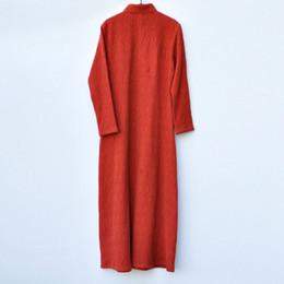 более толстое платье Скидка Начиная с осени и зимы, новое женское платье в китайском стиле с более толстым платьем из хлопка и конопли жаккардовое ретро чонсам L206