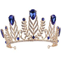 Tiara de cristal quinceanera on-line-Grande Vintage Verde Rhinestone Pena Casamento Da Coroa Quinceanera Folha De Cristal Prom Tiara Headband Do Trigo Da Noiva Acessórios Para o Cabelo