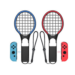 tennis rackets wholesale Promo Codes - 2019 New Arrival DOBE Switch Colourful Tennis Racket for N-Switch Joy-Con Controllers Grips for Somatosensory Games Aces 2 Pack