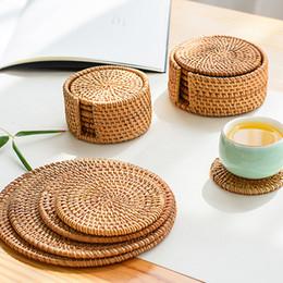 Fazer tapetes de mesa on-line-Placemat Pad copos cozinha toalha de mesa rattan montanha-bacia Mats Padding Mat Isolamento Pad Rodada Placemats Artesanal
