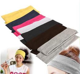 Pañuelos de pelo deportivo online-Nuevo Stretch Headband Sports Yoga banda para el cabello Sweat Head Wrap Unisex good Stretch Bandanas