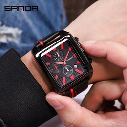 mens military army watch Coupons - SANDA Sport Mens Watches Top Brand Luxury Chronograph Leather Strap Quartz Army Military Watches Male Clock Relogio Masculino