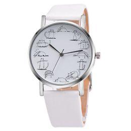 Mignons charms bon marché en Ligne-Chat mignon bracelet de montre en cuir ultra-mince montre-bracelet étudiant Quartz Fashion main charmante présente mode classique pas cher
