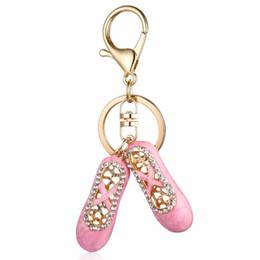 llaveros de ballet Rebajas Crystal Bejeweled Ballet Slipper llavero accesorio Charm Key Holder para mujeres llaveros llaveros llavero llaveros regalos creativos